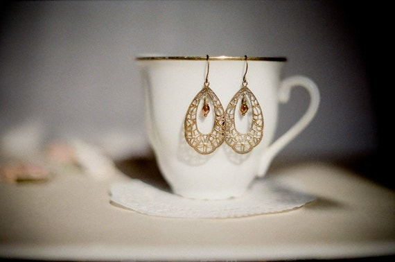 Claire, delicate antiqued brass lacy filigree earrings