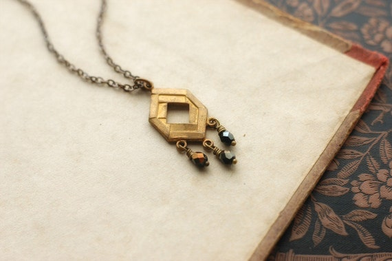 Vintage golden brass hexagon and iridescent black beads necklace - The Portal