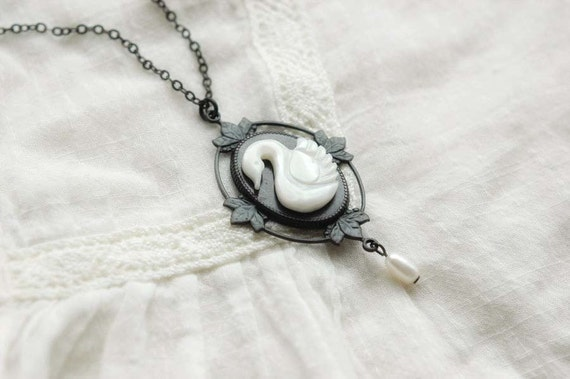 Swan lake - mother of pearl cut swan cameo on a blackened brass floral filigree and freshwater pearl necklace