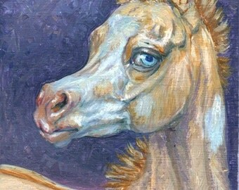 Perlino Overo Paint limited edition ACEO print horses equine animals