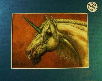 AUTUMN UNICORN horses giclee print in 8x10 mat equine fantasy art by Kerry Nelson