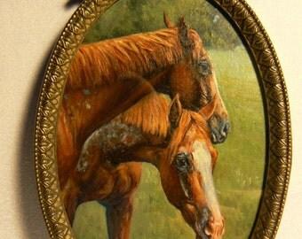 APPALOOSA horses framed oil painting original 4x6 equine art by KerryOriginals