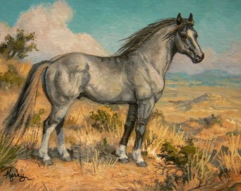 WILD HORSE grulla mustang original 4x6 equine oil painting by Kerry Nelson