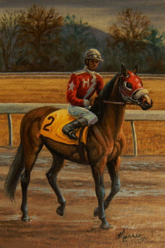 READY TO RUN, original 4x6 horse with jockey racing oil painting by Kerry Nelson