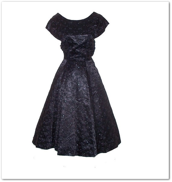 Vintage 50s 60s Black Embroidered Flowers Party Dress S M