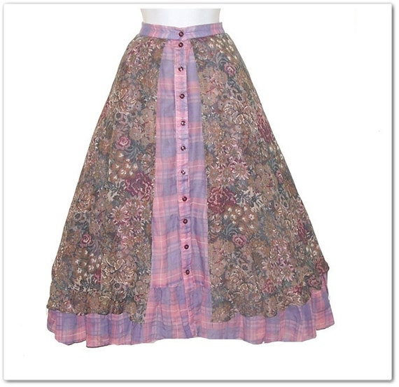 Vintage 70s Gunne Sax Sheer Plaid Floral Hippie Skirt XS S
