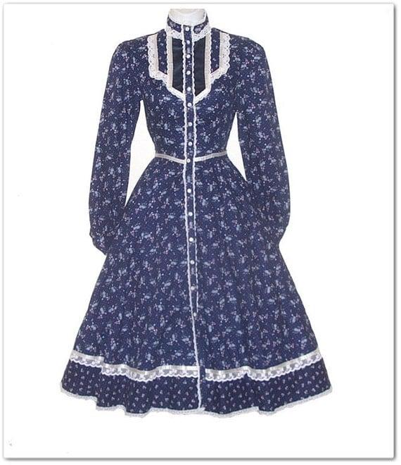 Vintage 70s Gunne Sax Navy Blue Floral Dress XXS XS
