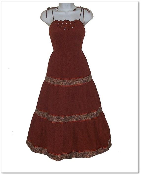 Vintage 70s Young Edwardian Boho Hippie Sun Dress M