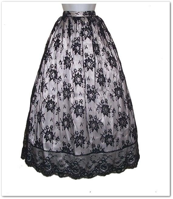 Vintage 90s 50s Style Gunne Sax Black Lace Skirt M