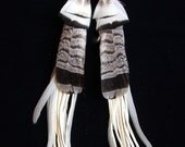 Eagle Dancer Feather Earrings with Deerskin Fringe