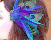 Peacock Feather Hair Piece with Great Colors- Custom Made