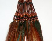 RESERVED for Anna- Long Feather Earrings with Beautiful Bronze Feathers and Beads- Ready to Ship