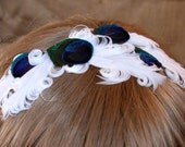 Peacock Bride Feather Headband with Feminine White Feathers