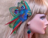 Peacock Hair Clip with Red Spikes with Matching Peacock Feather Earrings- Custom Made