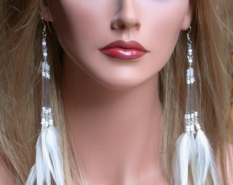 Long White Feather Earrings perfect for the Bride