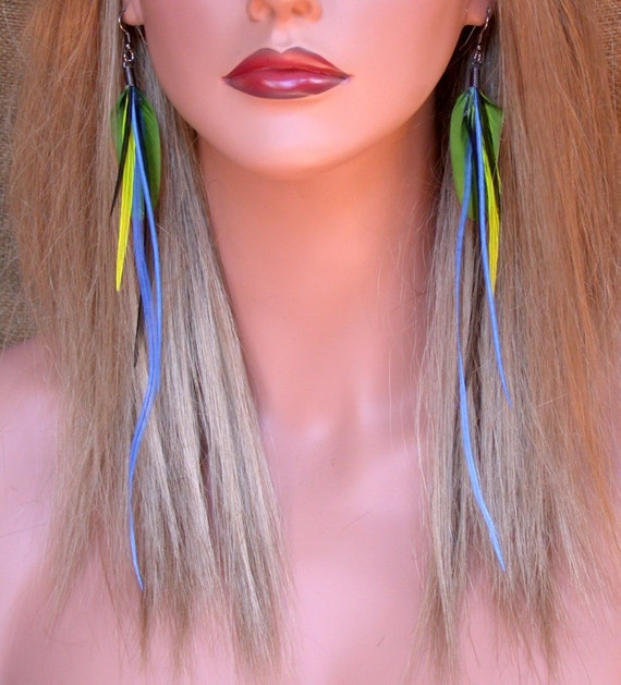 New Age Tribal Feather Earrings- Easy to wear- Ready to Ship
