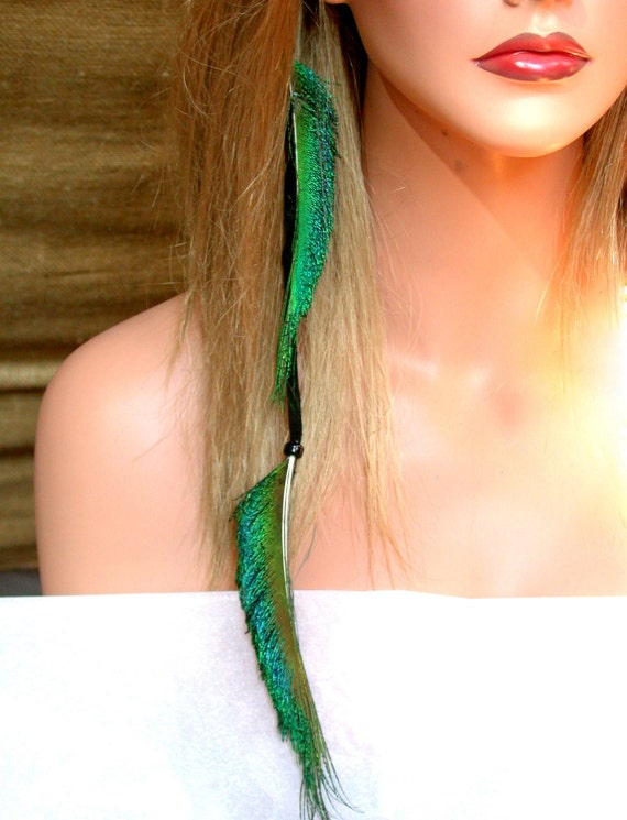 Peacock Feather Hair Extension with Black Deerskin- Beautiful Colors- Ready to Ship
