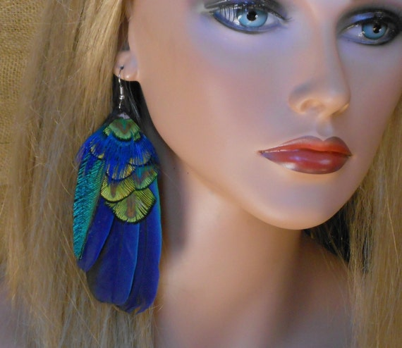 Blue Macaw and Peacock Feather Single Earring - Ready to Ship