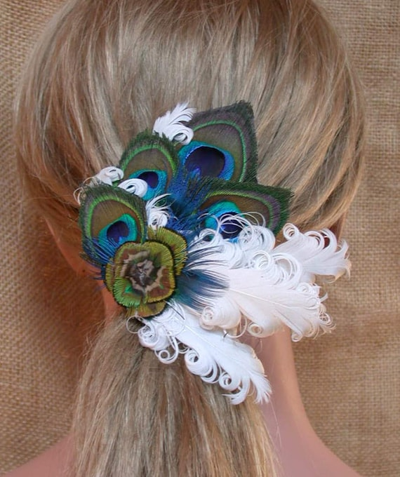 Peacock Feather Hair Clip with Curled Ivory Feathers- Ready to Ship