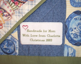 Custom Embroidered and Personalized Quilt Label