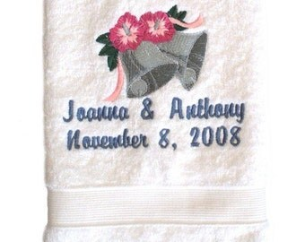 Custom Embroidered and Personalized Wedding Bell Hand Towel
