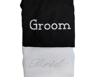 Bride and Groom Apron Set - Casual Bride Font ------  Rhinestones for Her - Embroidery for Him