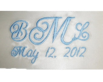 Amy Embroidered and Personalized Satin Ribbon Wedding Gown Label Tag Something Blue