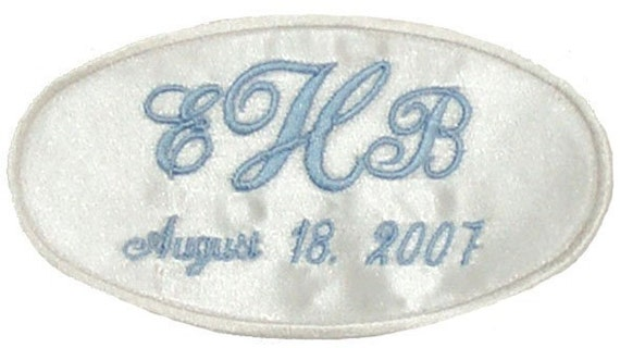 Erica Satin Wedding Dress Name Label Custom Embroidered Personalized