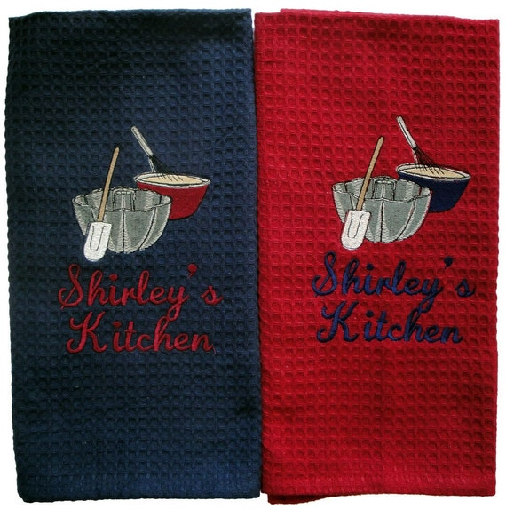Items Similar To Kitchen Towel Set With Custom Embroidered