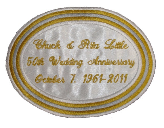 Large Embroidered and Personalized 50th Wedding Anniversary Oval Label in Gold, Silver and White