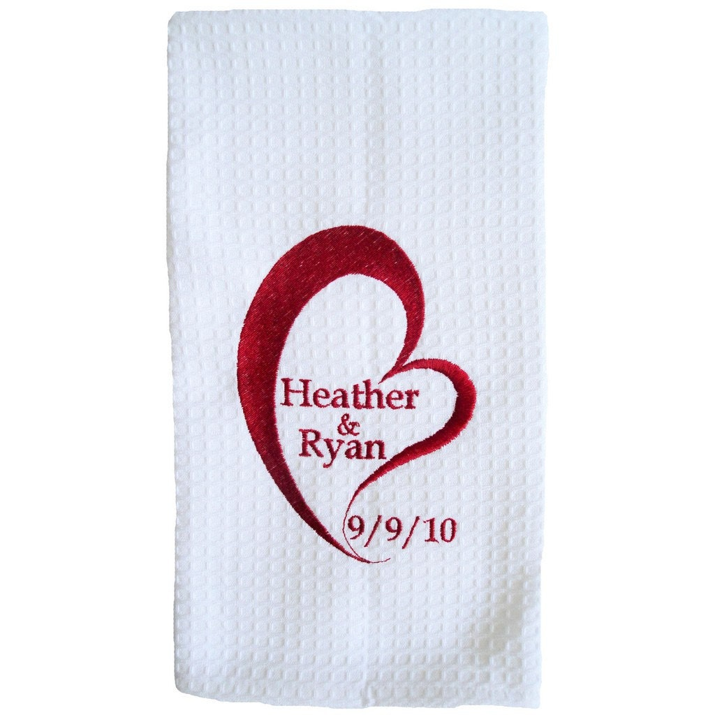 Embroidered Personalized Love Waffle Weave Kitchen Towel