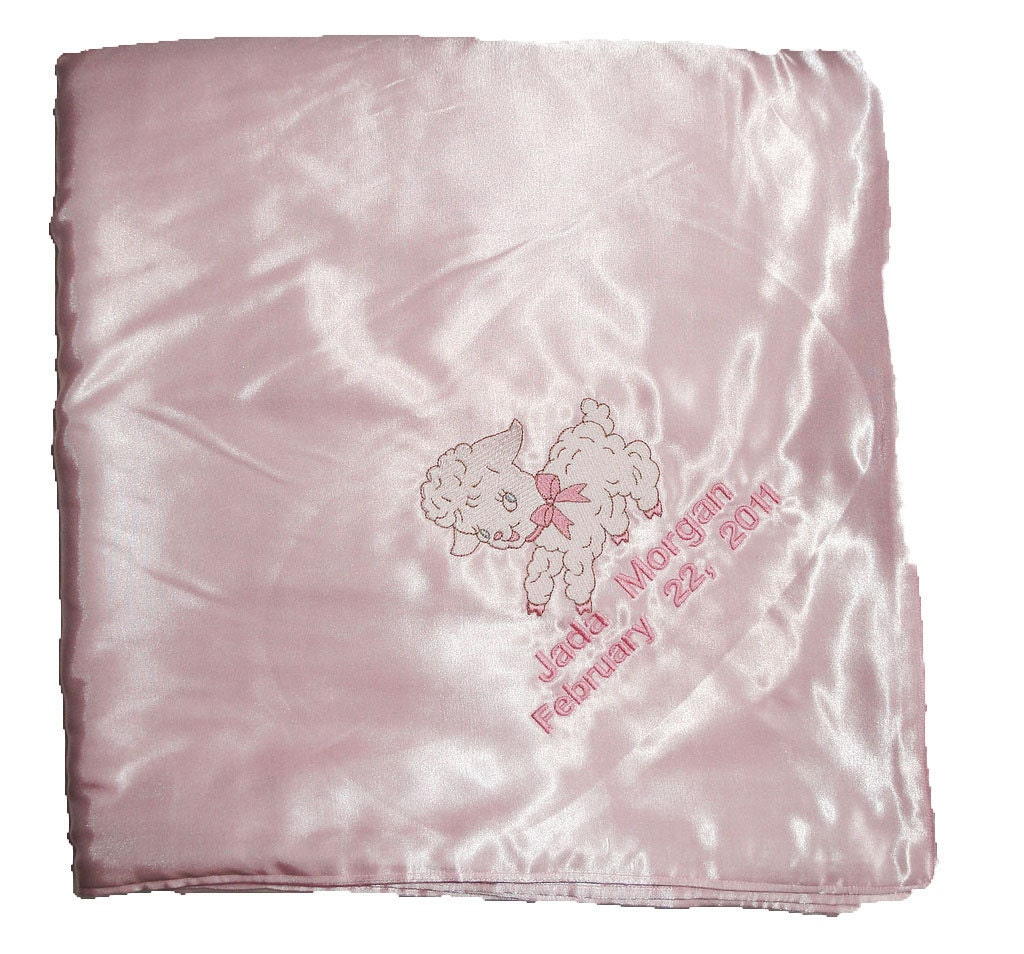 Huge Satin Baby Blanket Embroidered and Personalized to