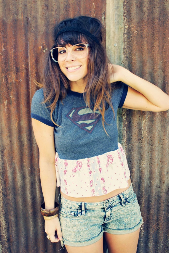 Poor Pitiful Pearl Superman T-Shirt  with Floral Ruffle