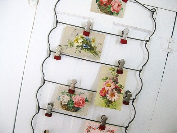 Hang Out... Vintage Multi Skirt Hanger turned Metal Display with Clips Memory Board