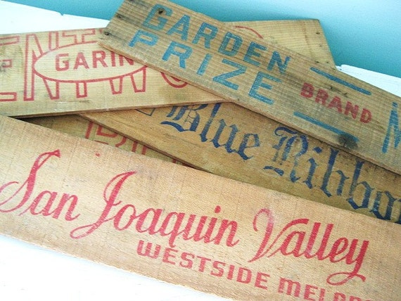 RESERVED...Rustic Charm... Vintage Advertising Wood Crate Label Signs