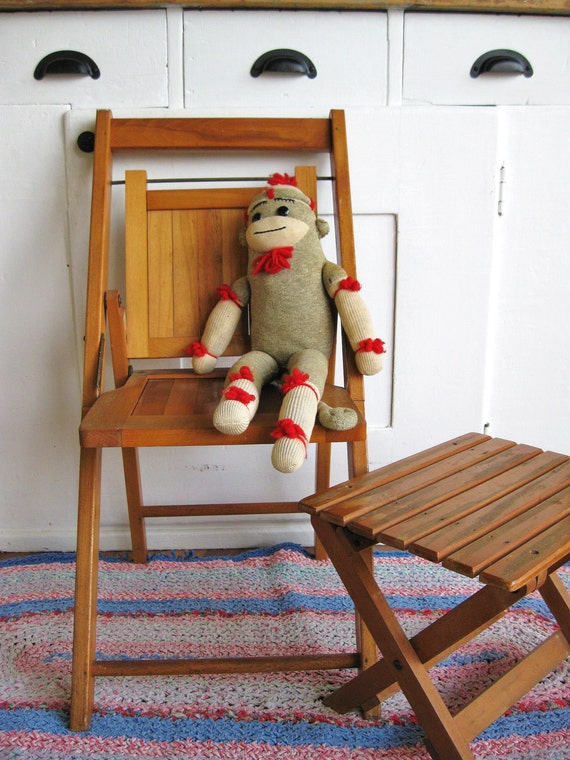 SALE Childs Play Antique Childs Wooden Folding Chair and