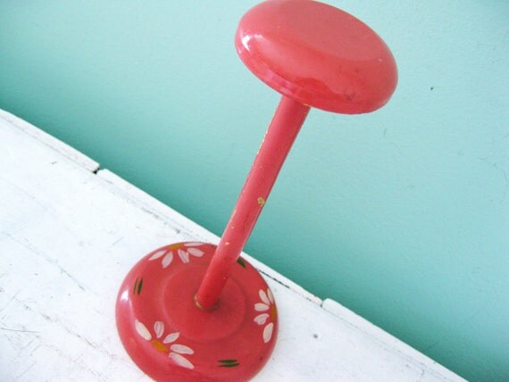 Drop Of The Hat... Vintage Wood Hand Painted  Handpainted Hat Stand Form Wig Stand