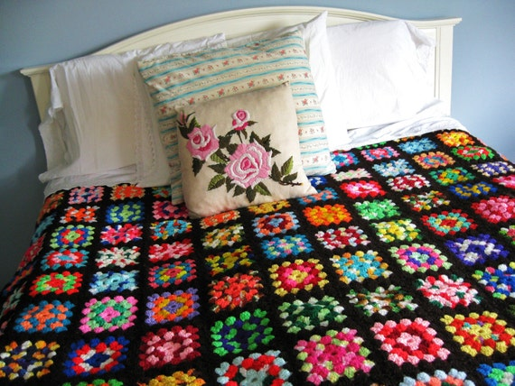 SALE...Handmade with Love... Vintage Large Handmade Rainbow Granny Square Afghan