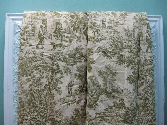 SALE Oui Oui... Vintage Toile Fabric Curtains By InWithTheOld
