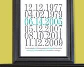 Subway Art Custom Dates - 8x10 - Family Print - Wedding Anniversary