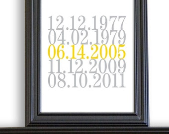 Subway Art, Date Print, Wedding Sign, Important Dates, Birth Dates, Numbers Art, Wedding Gift