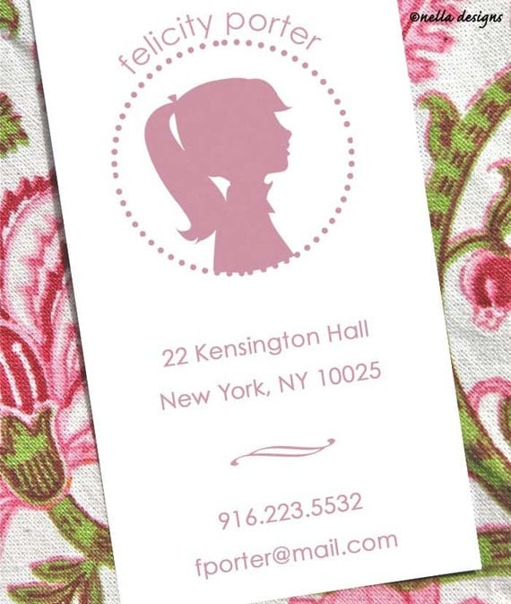 Silhouette Profile Calling Cards, many colors and designs available