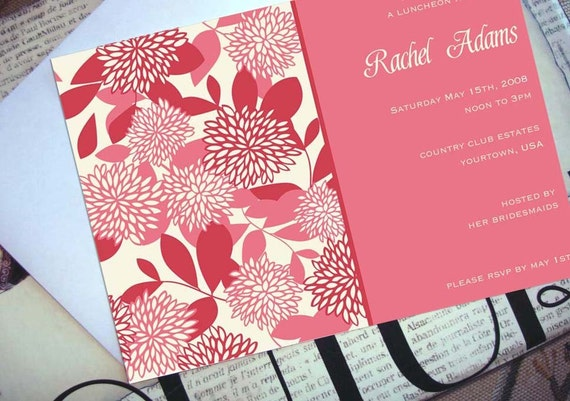 Katie Alice Floral Invitations (set of 10), birthday, custom, personalized, wedding, shower, save the date, party, luncheon