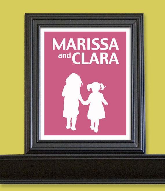 Children's Name Art Personalized Silhouette Prints