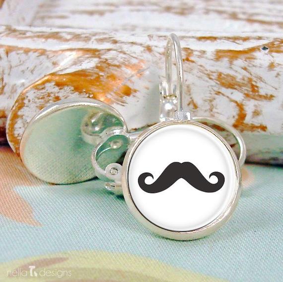 Black Mustache Silver Earrings