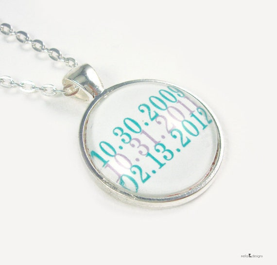 Subway Dates, Silver Date Necklace, Custom Wedding Gifts, Personalized Jewelry