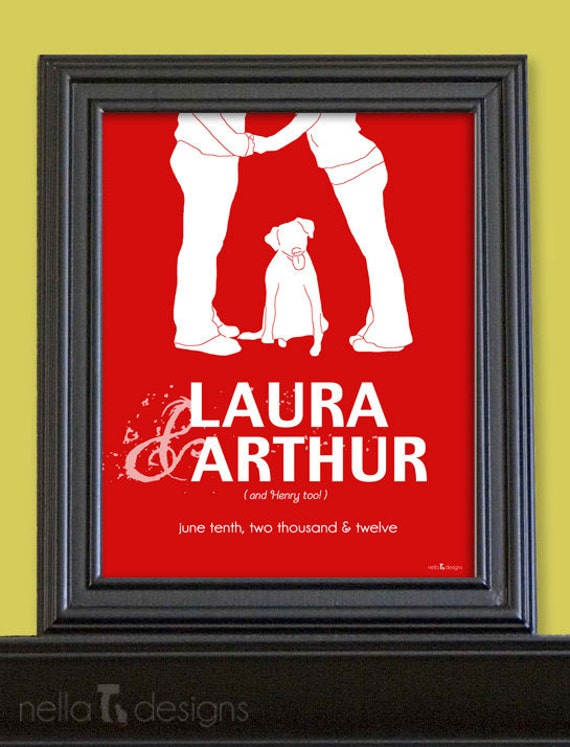 Personalized Wedding Gift - Couples Silhouette with dog