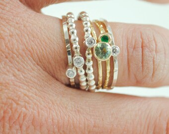 Organic Stacking Rings - 2 Tone with Stones