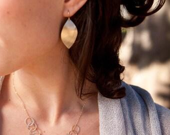 Brushed Leaf Earrings - 14k Gold Filled or Sterling Silver