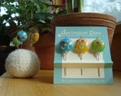 Decorative Pins - 3 decorative glass lampwork straight pins - light blue, yellow, green